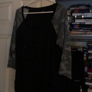 Torrid black T-shirt with Camo shelves